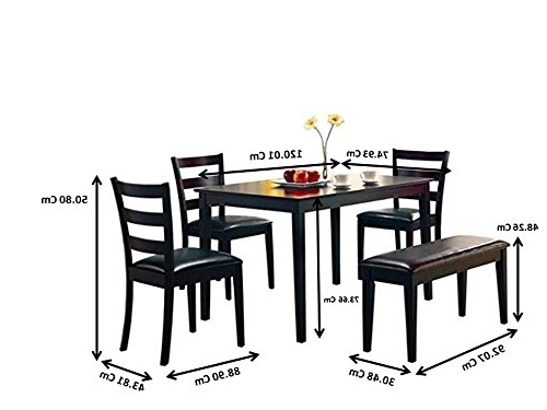 Amazon: Taraval 5 Piece Dining Set With Bench Cappuccino And With Newest Helms 6 Piece Rectangle Dining Sets With Side Chairs (View 11 of 20)