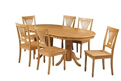 Amazon – Trithi Furniture Portland Solid Wood Dining Set Of 7 With Latest Portland 78 Inch Dining Tables (View 2 of 20)