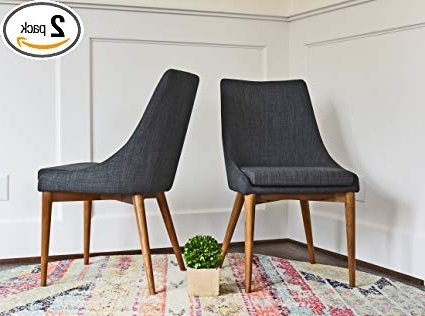 Amazon – Upholstered Dining Chairs – Mid Century Modern Dining With Regard To 2018 Fabric Dining Room Chairs (View 2 of 20)