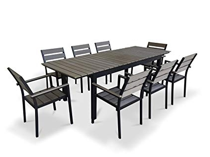 Amazon: Urbanfurnishing – 9 Piece Eco Wood Extendable Pertaining To Most Recently Released Outdoor Extendable Dining Tables (Gallery 13 of 20)