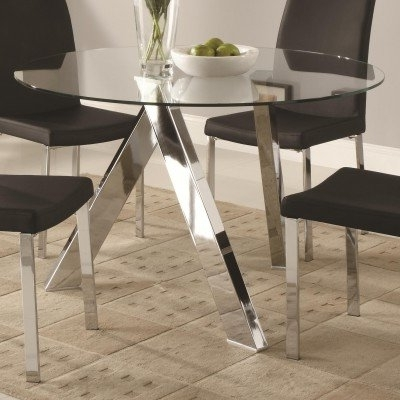 Amazon – Vance Contemporary Glass Top Dining Table With Chrome In Favorite Contemporary Base Dining Tables (View 1 of 20)