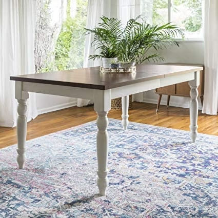 "Amazon: We Furniture 60"" Solid Wood Turned Leg Dining Table Within Famous Dining Tables With White Legs (Gallery 6 of 20)"