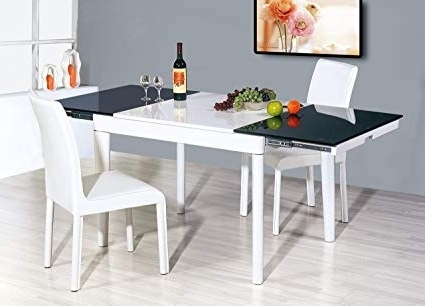 Amazon – White Extendable Dining Table, Dark Tempered Glass – Tables Within Trendy White Extendable Dining Tables (View 6 of 20)