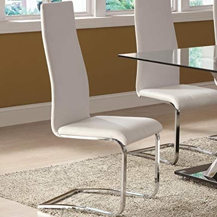 Amazon – White Faux Leather Dining Chairs With Chrome Legs (Set With Regard To Famous Chrome Dining Chairs (Gallery 1 of 20)