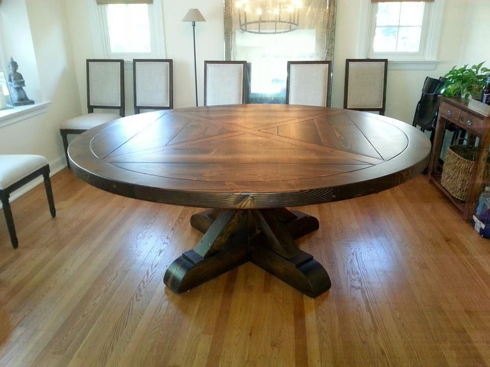 Amish Built Reclaimed Antique Barn Wood Round Pedestal Table With Regard To 2017 Artisanal Dining Tables (Gallery 14 of 20)