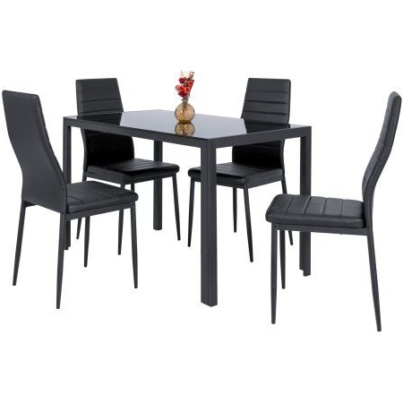 Amos 7 Piece Extension Dining Sets With Latest Zimtown Modern Dining Table Set 4 Chair Glass Metal Kitchen Room (Gallery 12 of 20)