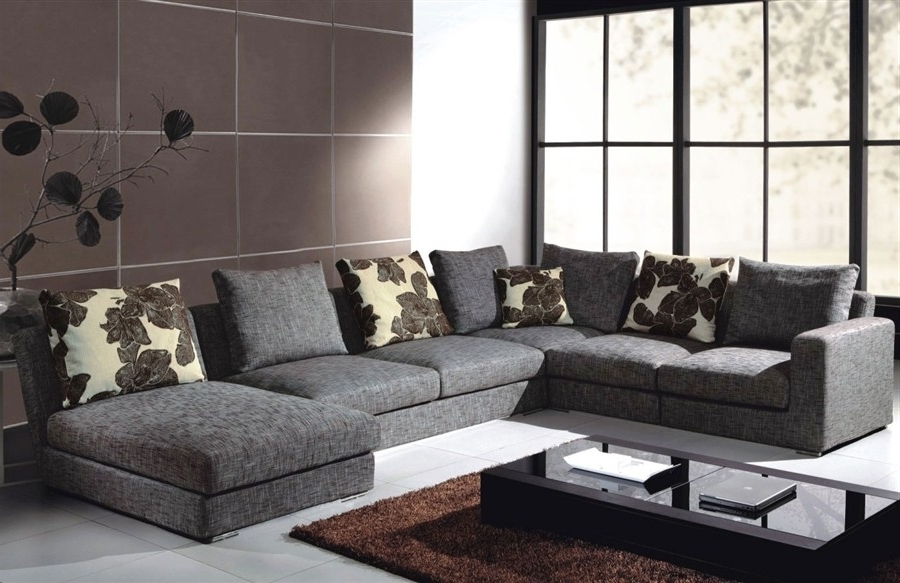 Aquarius Dark Grey 2 Piece Sectionals With Raf Chaise Regarding 2017 Fabric Sectional Aquarius Dark Grey 2 Piece W Laf Chaise Living (View 3 of 15)