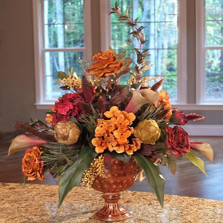 Artificial Floral Arrangements For Dining Tables In Widely Used Silk Flower Table Centerpieces Roses And Artichoke Silk Floral (View 4 of 20)
