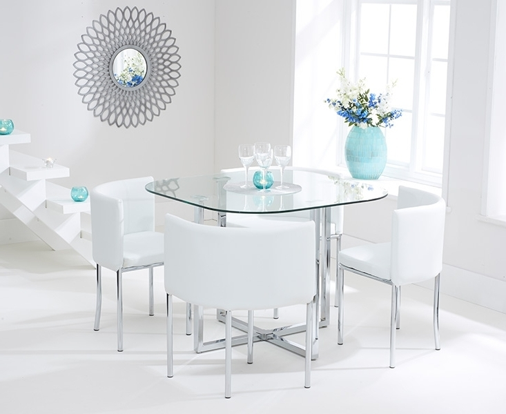 Ascot Stowaway Glass Dining Set With 4 White Chairs For Favorite Glass Dining Tables White Chairs (Gallery 3 of 20)