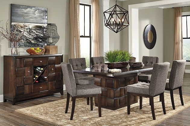 Ashley Furniture Home Store Chanella Dark Brown Modern Dining Set For Most Up To Date Jaxon 7 Piece Rectangle Dining Sets With Upholstered Chairs (View 6 of 20)