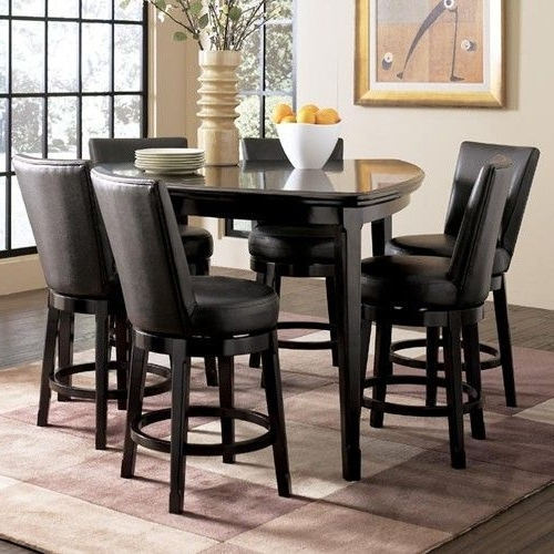 Ashley Millennium Emory 7 Piece Triangle Pub Table Set With 6 Intended For Favorite Jaxon 5 Piece Extension Counter Sets With Fabric Stools (View 4 of 20)