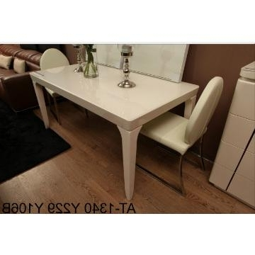 At 1340, China Tempered Glass In Cream Color And Mdf Dining Table Inside Preferred Cream High Gloss Dining Tables (View 1 of 20)