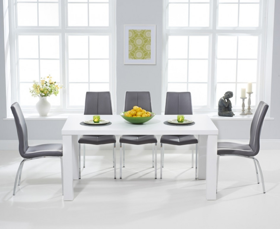 Atlanta 180Cm White High Gloss Dining Table With Cavello Chairs For Most Recent White High Gloss Dining Tables (Gallery 4 of 20)
