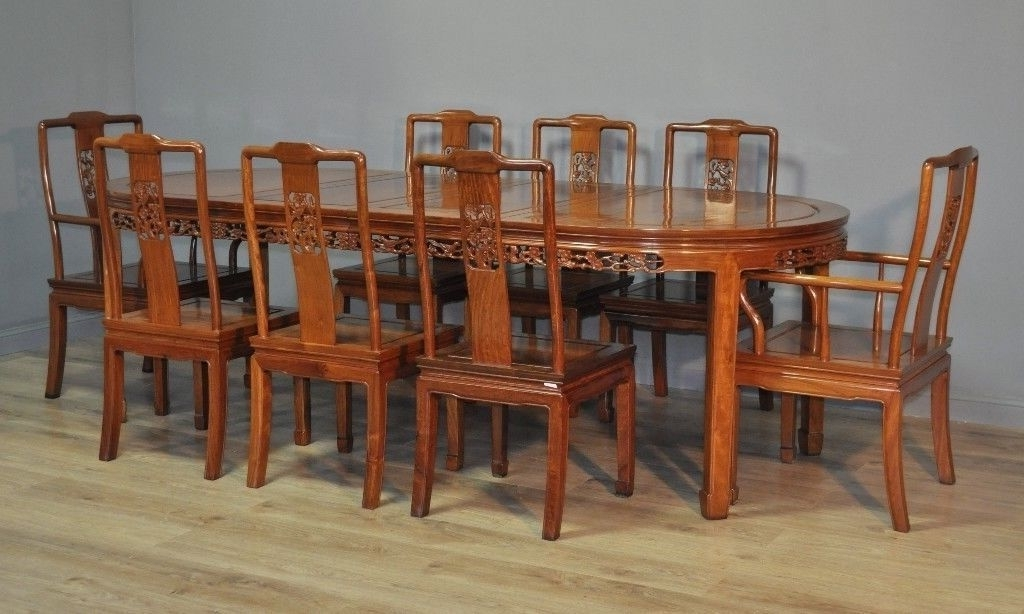 Attractive Large Oriental Carved Extending Dining Table & 8 Chairs With Regard To 2017 Extending Dining Tables And 8 Chairs (Gallery 14 of 20)