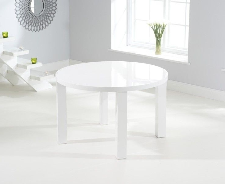 Ava White High Gloss White 120Cms Round Dining Table. In Current High Gloss Round Dining Tables (Gallery 8 of 20)