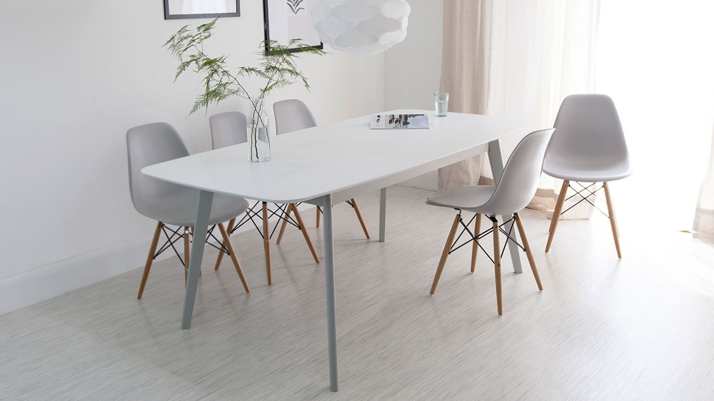 Aver Grey & White Extending Dining Table And Eames Chairs Inside Well Known Extendable Dining Tables With 6 Chairs (View 4 of 20)