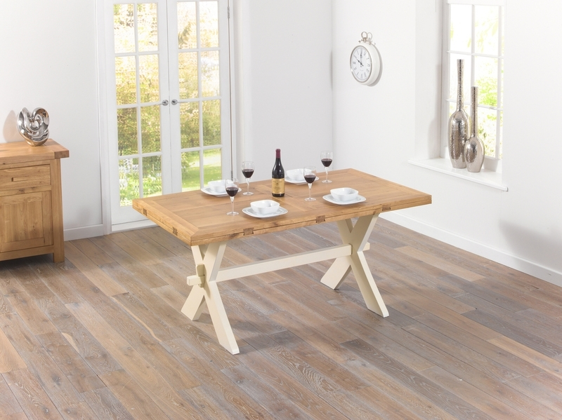Avignon 165Cm Oak & Cream All Sides Dining Table Oak Dining Tables Throughout Best And Newest Cream And Wood Dining Tables (View 14 of 20)