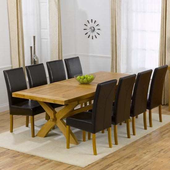Avignon Oak Extending Dining Table And 8 Brown Rustique Regarding Recent Oak Extending Dining Tables And 8 Chairs (View 6 of 20)