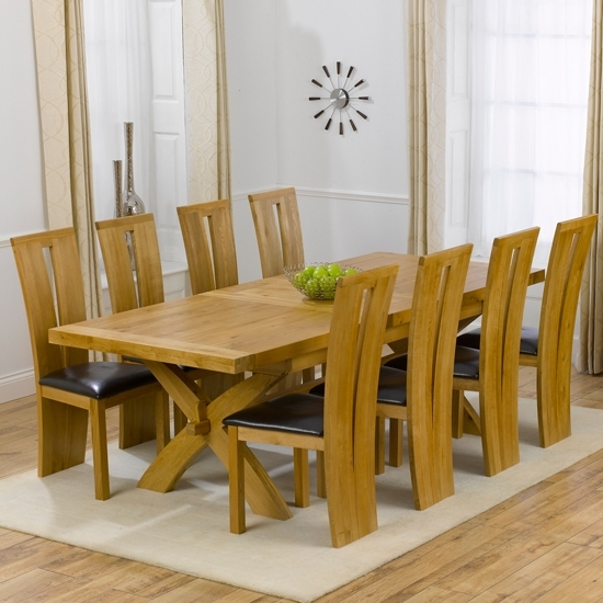 Avignon Solid Oak Extending Dining Table And 8 Arizona Inside Most Popular Oak Extending Dining Tables And 8 Chairs (View 11 of 20)