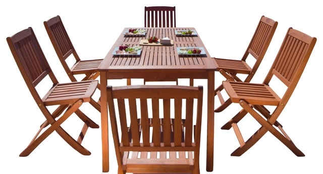 Balthazar Rectangular Table & Folding Chair Outdoor Wood Dining Set Pertaining To Trendy Folding Outdoor Dining Tables (View 4 of 20)