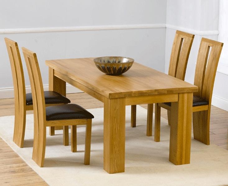 Barcelona 180Cm Oak Dining Set Solid Oak 180Cm Dining Table Sets Inside Latest Oak Dining Sets (View 1 of 20)