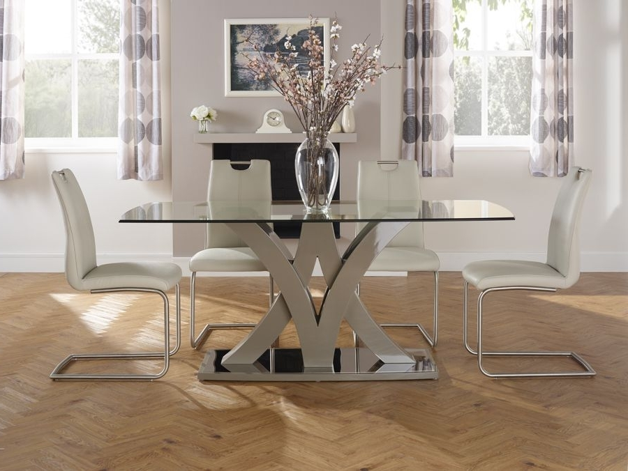 Barcelona Dining Tables For Trendy Serene Barcelona Glass Dining Table (View 4 of 20)