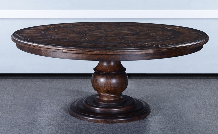 Barcelona Dining Tables Pertaining To Newest Barcelona Antique Walnut 72 Round Dining Table : , Storeroom On Main (View 8 of 20)