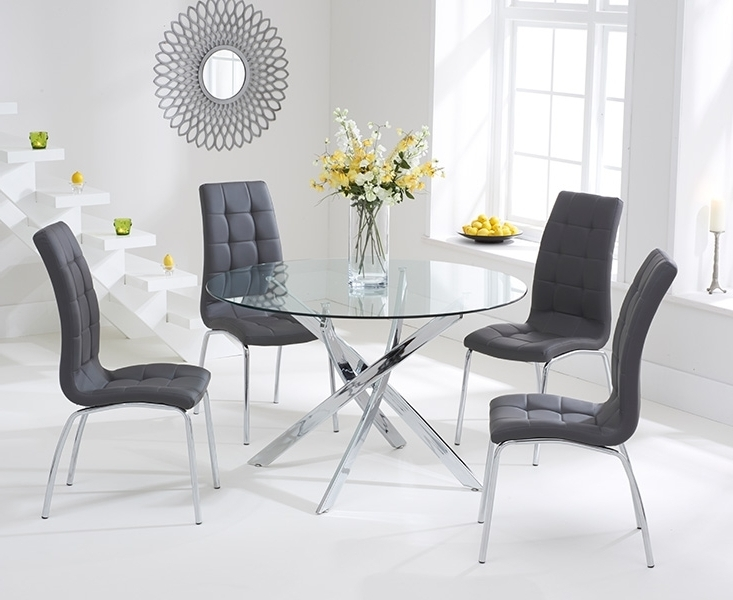 Bari Glass 110Cm Round Dining Set With 2 Forli Grey Chairs Intended For Favorite Dining Tables With Grey Chairs (View 2 of 20)