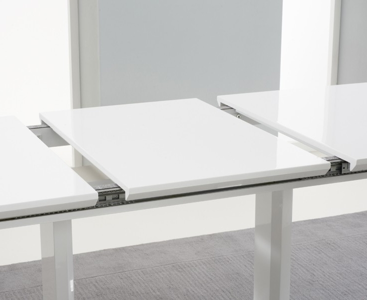 Beckley 6 To 8 Seater White Gloss Extending Dining Table (View 1 of 20)