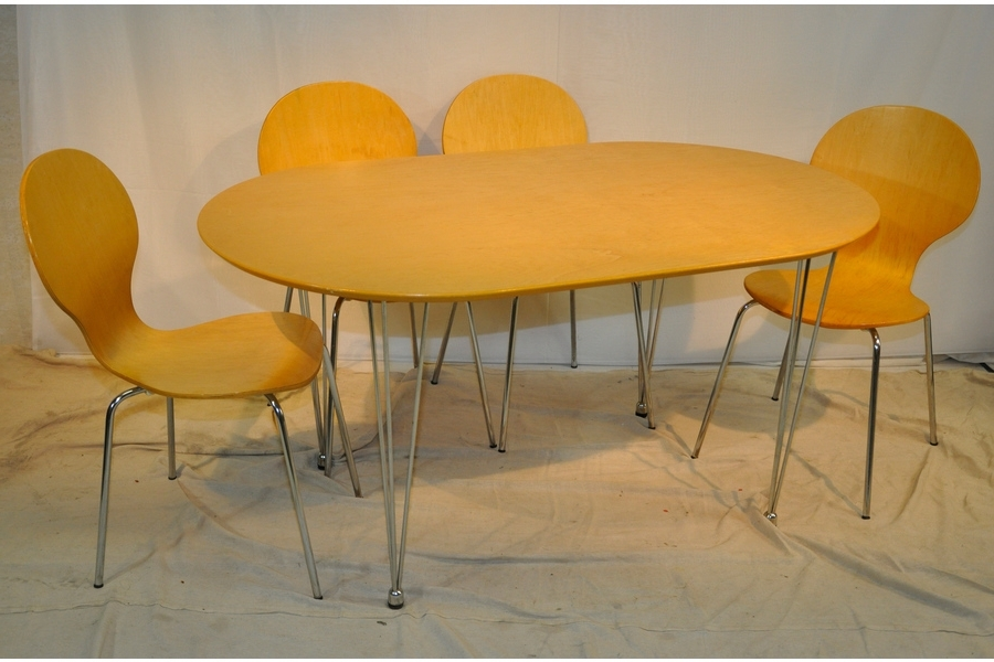 Beech Dining Tables And Chairs Within Preferred Beech Dining Table With 6 Dining Chairs (View 7 of 20)