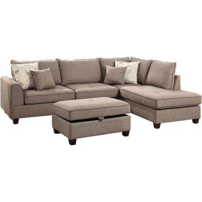 Beige – Sectionals – Living Room Furniture – The Home Depot Pertaining To Current Gordon 3 Piece Sectionals With Raf Chaise (View 3 of 15)