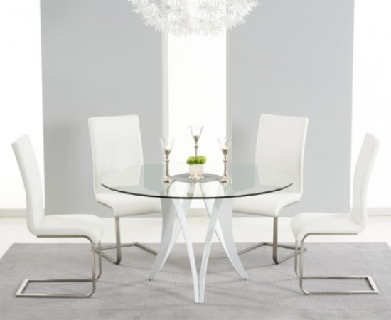 Bellevue 130cm Round Glass Dining Table With 4 Malibu White Leather Pertaining To Most Recent Glass Dining Tables White Chairs (View 4 of 20)
