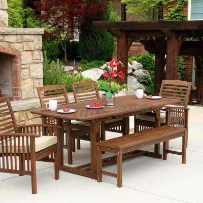Bench – Patio Dining Sets – Patio Dining Furniture – The Home Depot Throughout Trendy Outdoor Dining Table And Chairs Sets (View 3 of 20)