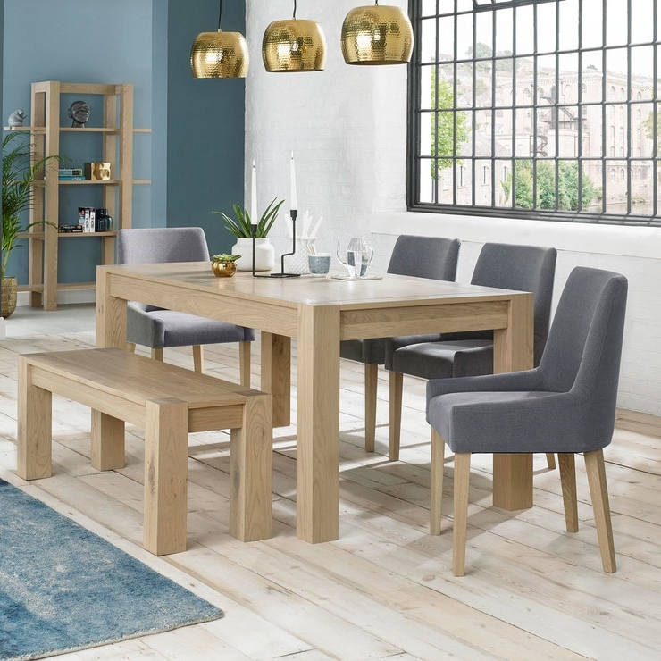 Bentley Designs Turin Aged Oak Extending Dining Table With Bench + 4 In Best And Newest Oak Extending Dining Tables And 4 Chairs (View 1 of 20)