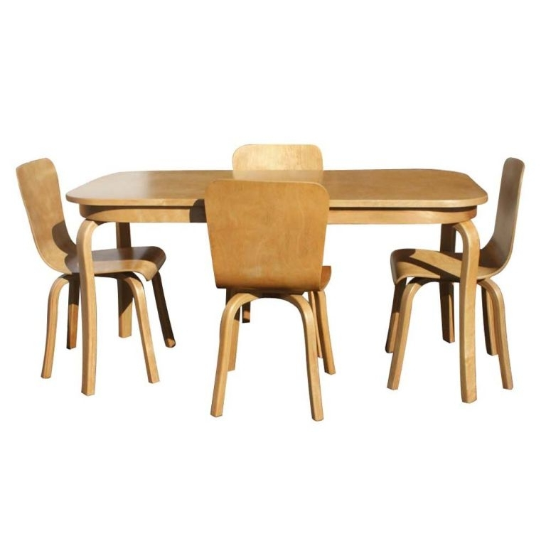 Bentwood Birch Dining Table And Four Chairs At 1stdibs Inside 2017 Birch Dining Tables (View 6 of 20)
