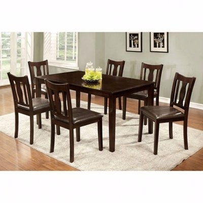 Benzara 7 Piece Rectangular Faux Leather Dining Table Set In 2018 Intended For Preferred Laurent 7 Piece Rectangle Dining Sets With Wood And Host Chairs (View 3 of 20)