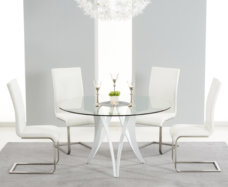 Berlin 130Cm Glass And White High Gloss Round Dining Table With Throughout Most Current White High Gloss Dining Tables And 4 Chairs (View 2 of 20)