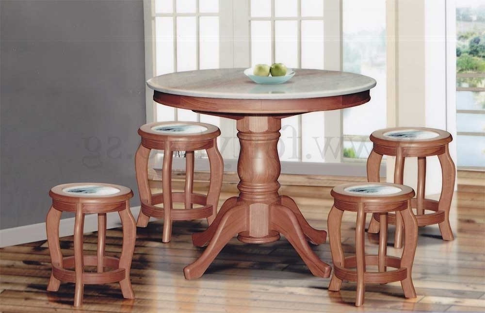 Best And Newest 3Ft Dining Tables In Dn888 Round Marble Dining Table (3Ft) + 4 Stools (Marble Seat Top (View 7 of 20)
