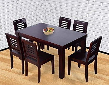 Best And Newest 6 Seat Dining Tables And Chairs Regarding Santosha Decor Solid Sheesham Wood Premium Quality 6 Seater Dining (View 18 of 20)