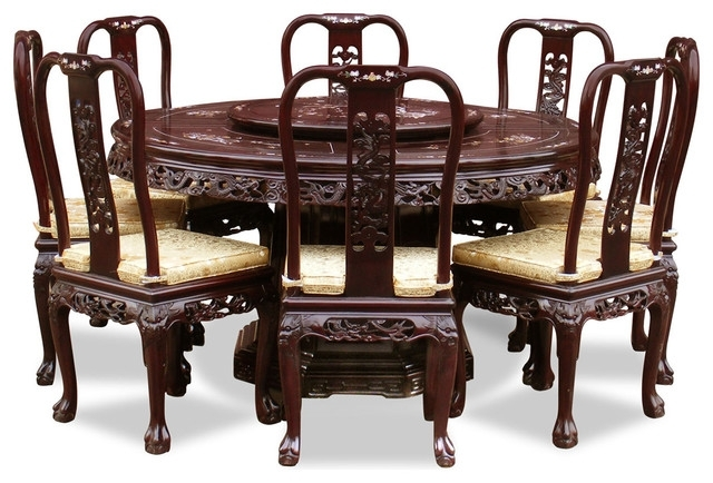 "Best And Newest 60"" Rosewood Queen Ann Pearl Inlay Motif Round Dining Table With 8 Regarding Asian Dining Tables (View 8 of 20)"