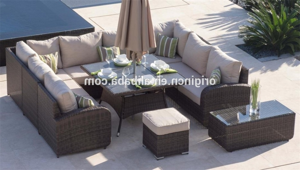 Best And Newest 8 Seat Outdoor Dining Tables With Regard To 8 Seater U Shape Home Outdoor Dining And Chatting Sofa Set Wicker (View 3 of 20)