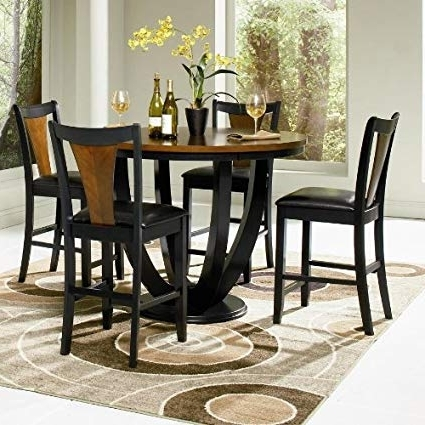 Featured Photo of Caira Black 5 Piece Round Dining Sets With Upholstered Side Chairs