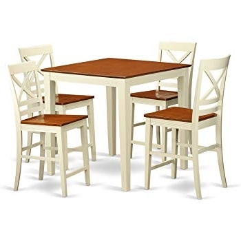 Best And Newest Amazon – East West Furniture Javn5 Whi W 5 Piece Counter Height In Jaxon 5 Piece Extension Counter Sets With Fabric Stools (View 5 of 20)