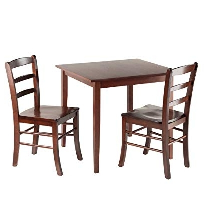Best And Newest Amazon – Winsome Groveland Square Dining Table With 2 Chairs, 3 Throughout Square Dining Tables (View 3 of 20)