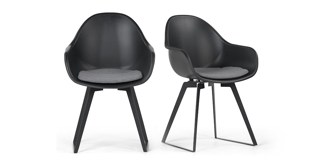 Best And Newest Black Dining Chairs With Set Of 2 Dining Chairs In Black Concrete, Boone (View 14 of 20)