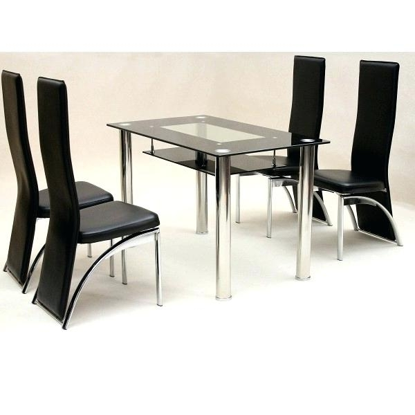 Best And Newest Black Glass Dining Table 8 Chairs Top Set Extending 6 Within Cheap Glass Dining Tables And 4 Chairs (View 18 of 20)