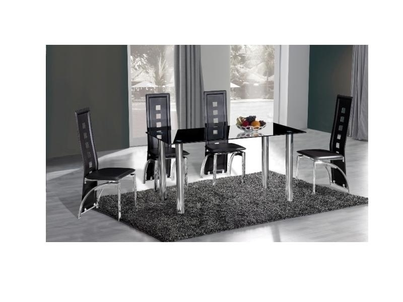 Best And Newest Black Glass Dining Tables And 4 Chairs With Crystal Black Glass Dining Table And 4 Chairs – Homegenies (View 4 of 20)