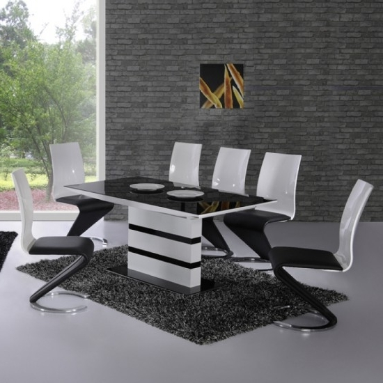 Best And Newest Black High Gloss Dining Tables And Chairs Regarding Arctic Black And White High Gloss Extending Dining Table And 4 Leona (View 1 of 20)