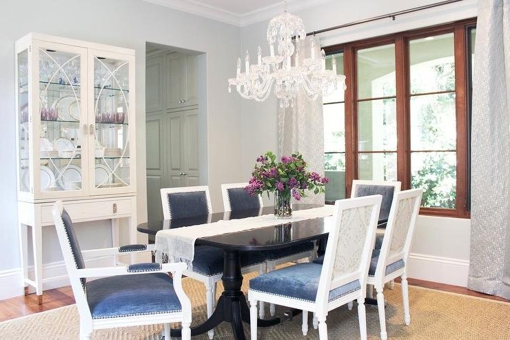 Best And Newest Blue Dining Tables Within Black Dining Table With Blue Velvet Dining Chairs – Transitional (View 8 of 20)