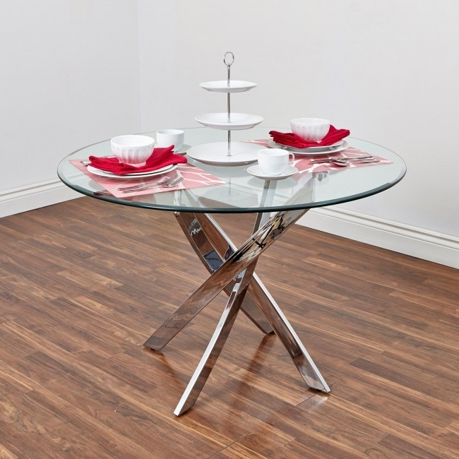 Best And Newest Bradford Dining Tables Intended For Bradford Carol Glass Dining Table (Clear/silver) (View 3 of 20)